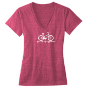 You Can Buy Happiness Women's Cruiser Bike - Ladies' Triblend Deep V-Neck T-Shirt