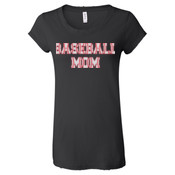 Baseball Mom with Favorite Player - Ladies' Distressed Vintage Jersey T-Shirt
