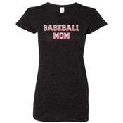 Baseball Mom with Favorite Player - J America Ladies' Glitter T-Shirt