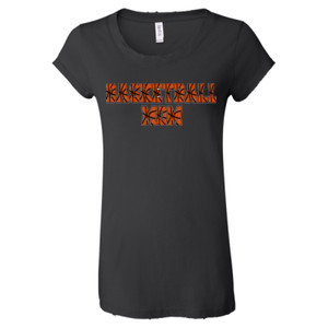 Basketball Mom with Favorite Player - Ladies' Distressed Vintage Jersey T-Shirt