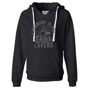 Longmont Is For Beer Lovers - Ladies' Sueded V-Neck Hooded Sweatshirt