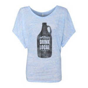 Drink Local Longmont Colorado - Women's Flowy Draped Sleeve Dolman Tee (S)