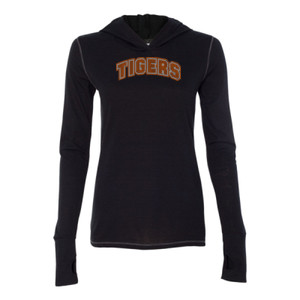 TIGERS Rhinestone Arch - Ladies' Triblend Long Sleeve Hooded Pullover