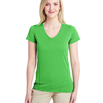 Ladies' Tech Short-Sleeve V-Neck Dark Color Shirt