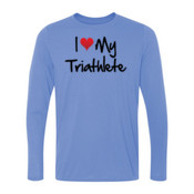 I heart my Triathlete - Light Youth Long Sleeve Ultra Performance 100% Performance T Shirt