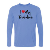I heart my Triathlete - Light Ladies Long Sleeve Ultra Performance 100% Performance T Shirt