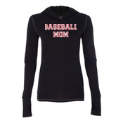 Baseball Mom with Favorite Player - Ladies' Triblend Long Sleeve Hooded Pullover
