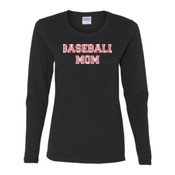 Baseball Mom with Favorite Player - Gildan Ladies Ultra Cotton™ Long Sleeve Missy Fit T Shirt