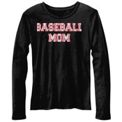 Baseball Mom with Favorite Player - Bella Ladies'  4.2 oz. Missy Long-Sleeve Crew Neck Jersey T-Shirt