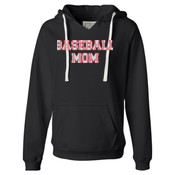 Baseball Mom with Favorite Player - Ladies' Sueded V-Neck Hooded Sweatshirt