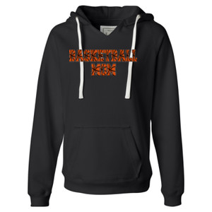 Basketball Mom with Favorite Player - Ladies' Sueded V-Neck Hooded Sweatshirt