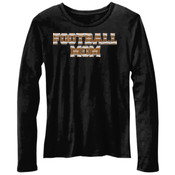 Football Mom with Favorite Player - Bella Ladies'  4.2 oz. Missy Long-Sleeve Crew Neck Jersey T-Shirt