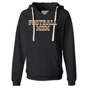 Football Mom with Favorite Player - Ladies' Sueded V-Neck Hooded Sweatshirt