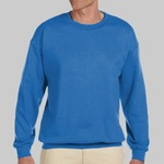 Adult Heavy Blend Heather Royal or Red 60/40 Fleece Crew (S)