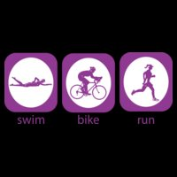 Triathlon icon swim bike run woman