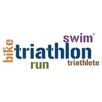 Triathlon Word Cloud - Swim T1 Bike T2 Run