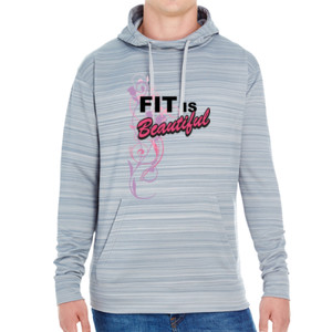 Fit is Beautiful - JAmerica Unisex Poly Fleece Striped Pullover Hoodie