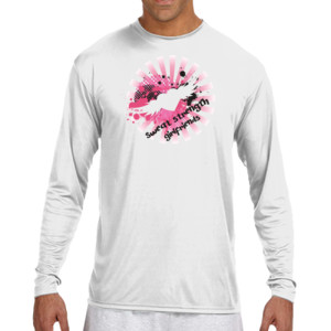 Sweat, Strength, Girlfriends - (S) Long Sleeve Cooling Performance Crew Light Color Shirt