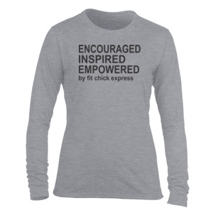 Encouraged, Inspired, Empowered - Light Ladies Long Sleeve Ultra Performance Active Lifestyle T Shirt