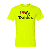 I heart my Triathlete - Light Youth/Adult Ultra Performance 100% Performance T Shirt