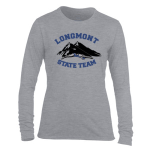 Longmont State Team - Light Ladies Long Sleeve Ultra Performance Active Lifestyle T Shirt