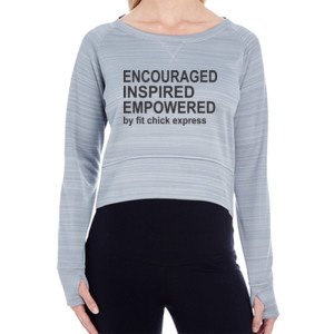 Encouraged, Inspired, Empowered - Ladies' Striped Poly Fleece Hi-Lo Crew