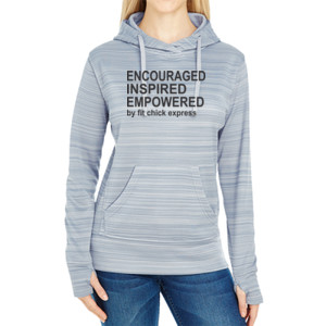 Encouraged, Inspired, Empowered - JAmerica Ladies Poly Fleece Striped Pullover Hoodie