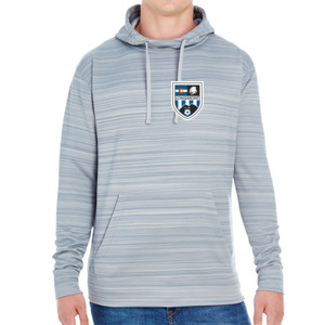 LHS Shield - JAmerica Unisex Poly Fleece Striped Pullover Hoodie