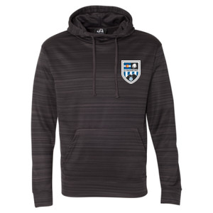 LHS Shield - Striped Poly Fleece Hooded Pullover Sweatshirt