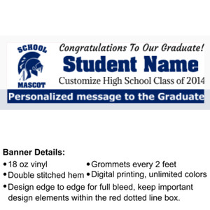 Custom Graduation Banner with School Name & Logo - 2' x 6' 18oz Vinyl Banner
