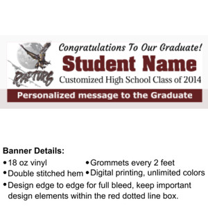 Custom School Graduation Banner with School Logo - 2' x 6' 18oz Vinyl Banner 3 2 2