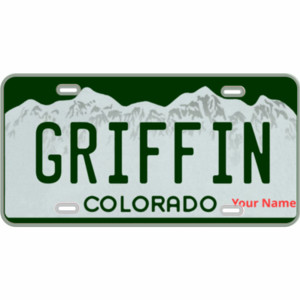 Colorado Custom Mini-License Plate with License Plate Font