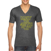 May the 40th Be With You  - Unisex American Apparel Triblend V-Neck T-shirt