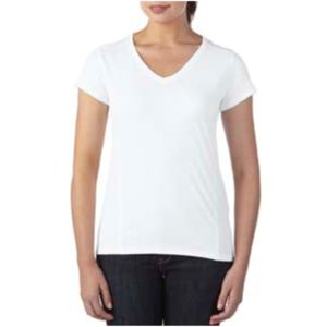 (S) Ladies' Tech Short-Sleeve V-Neck Light Color Shirt Thumbnail