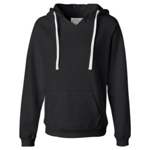 Ladies' Sueded V-Neck Hooded Sweatshirt Thumbnail
