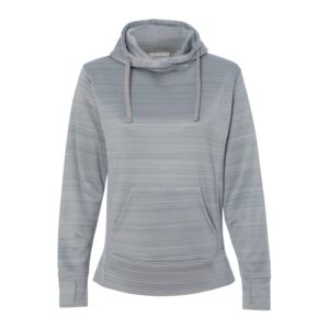 JAmerica Ladies Poly Fleece Striped Pullover Hoodie Thumbnail