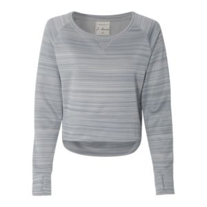 Ladies' Striped Poly Fleece Hi-Lo Crew Thumbnail