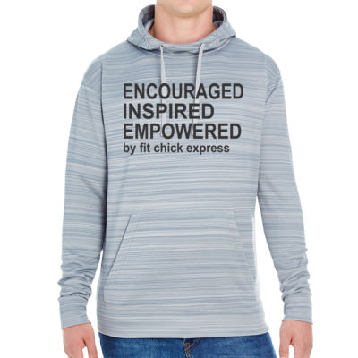 Encouraged, Inspired, Empowered - JAmerica Unisex Poly Fleece Striped Pullover Hoodie Thumbnail