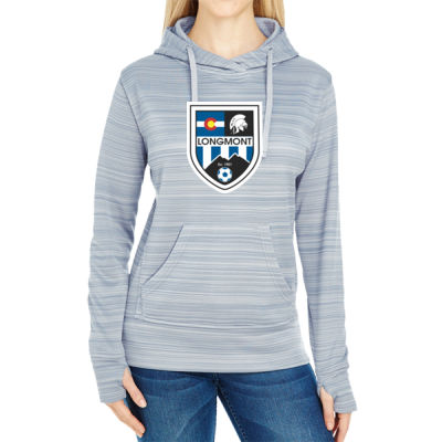 LHS Shield - JAmerica Ladies Poly Fleece Striped Pullover Hoodie Thumbnail