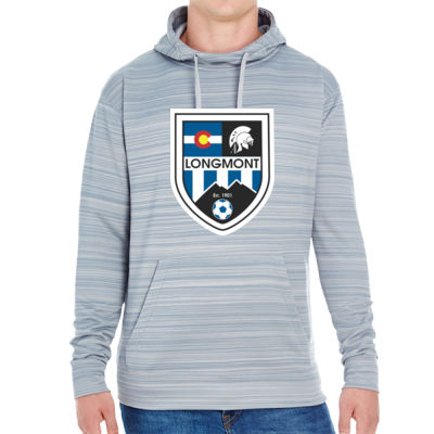 LHS Shield - JAmerica Unisex Poly Fleece Striped Pullover Hoodie Thumbnail