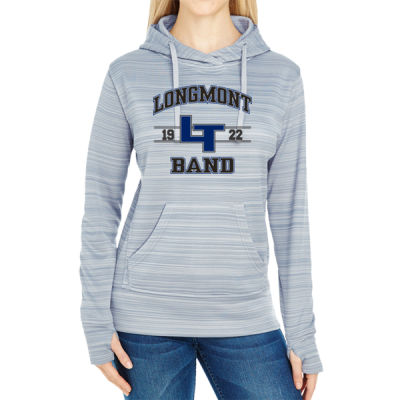 LHS Band  - JAmerica Ladies Poly Fleece Striped Pullover Hoodie Thumbnail