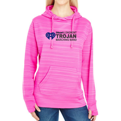 iHeartLongmont - JAmerica Ladies Poly Fleece Striped Pullover Hoodie Thumbnail