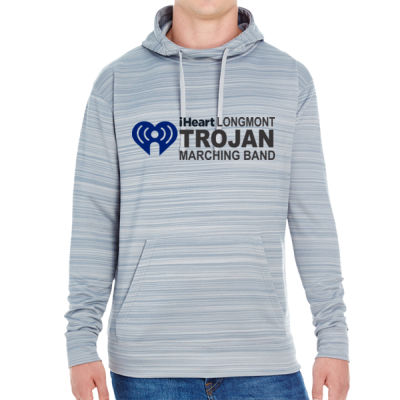 iHeartLongmont - JAmerica Unisex Poly Fleece Striped Pullover Hoodie Thumbnail