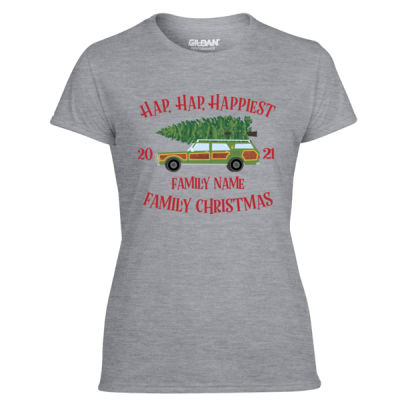 Hap, Hap, Happiest Family Christmas - Light Ladies Ultra Performance Active Lifestyle T Shirt Thumbnail