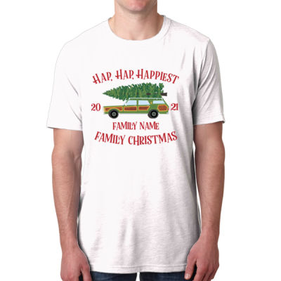 Hap, Hap, Happiest Family Christmas - Men's Poly/Cotton Short-Sleeve Crew Tee Thumbnail