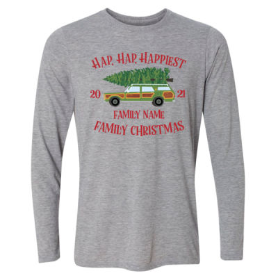 Hap, Hap, Happiest Family Christmas - Light Long Sleeve Ultra Performance Active Lifestyle T Shirt Thumbnail