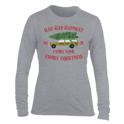 Hap, Hap, Happiest Family Christmas - Light Ladies Long Sleeve Ultra Performance Active Lifestyle T Shirt Thumbnail