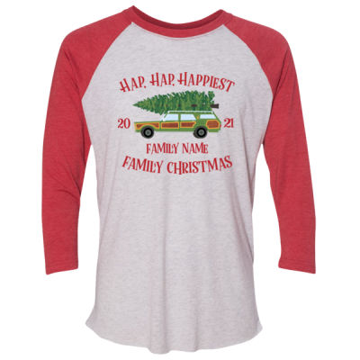 Hap, Hap, Happiest Family Christmas - Unisex Tri-Blend Three-Quarter Sleeve Baseball Raglan Tee Thumbnail