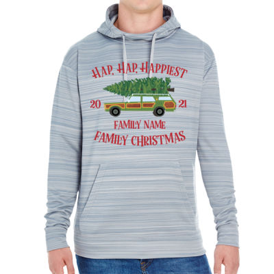 Hap, Hap, Happiest Family Christmas - JAmerica Unisex Poly Fleece Striped Pullover Hoodie Thumbnail