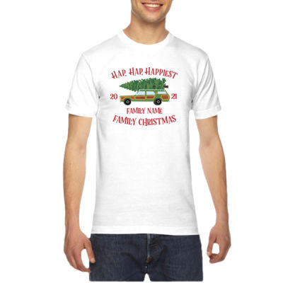 Hap, Hap, Happiest Family Christmas - American Apparel Unisex T-Shirt Thumbnail